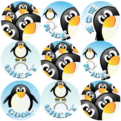 Sticker Stocker 144 Penguin Fun Praise Words 30mm Reward Stickers for Teachers, Parents and Party Bags