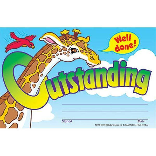 Trend Enterprises Inc 30 Outstanding Giraffe Childrens Award - Reward Recognition Certificates Pad