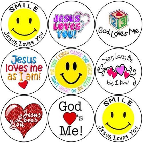 Sticker Stocker 144 Smile Jesus Loves You 30mm Round Childrens Christian Reward Stickers - Teachers or Parents