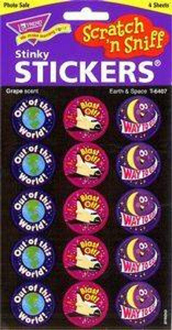Trend Enterprises Inc 60 TREND Earth and Space Grape Scratch n Sniff Reward Stickers