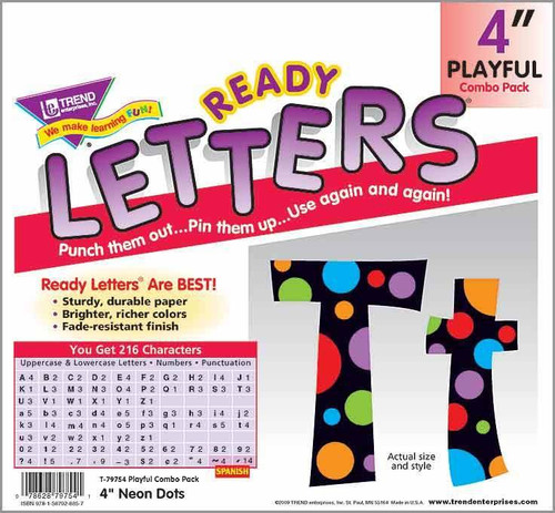 Trend Enterprises Inc Display Board Ready Letters - Neon Dots 4 combo pack
