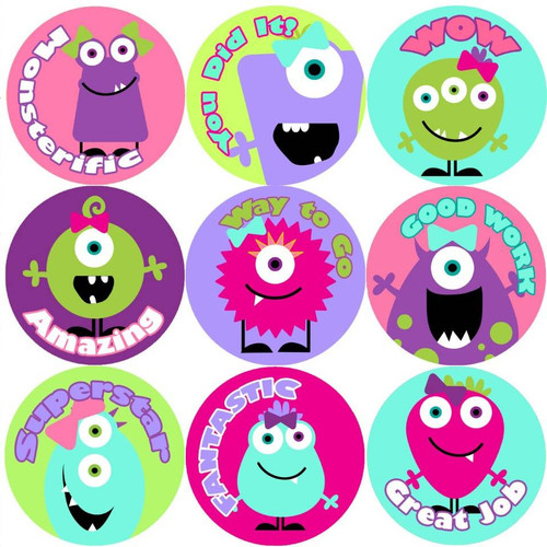 Sticker Stocker 144 Girly Monsters Praise Words 30mm Reward Stickers for Teachers, Parents and Girls Party Bags