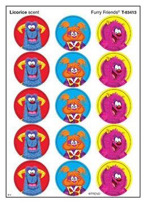 Trend Enterprises Inc 60 Furry Friends Scratch n Sniff Licorice Stinky Stickers