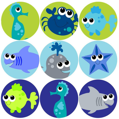 Sticker Stocker 144 Deep Blue Sea 30mm Childrens Reward Stickers for Teachers or Parents