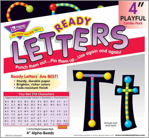 Trend Enterprises Inc Trend Display Ready Letters - Alpha-Beads 4-Inch Playful