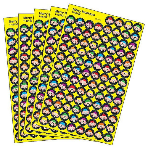 Trend Enterprises Inc 2500 TREND Merry Monkeys superSpots reward Stickers