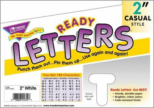 Trend Enterprises Inc Trend Display Ready Letters - Pack of 140 White 2 letters and numbers