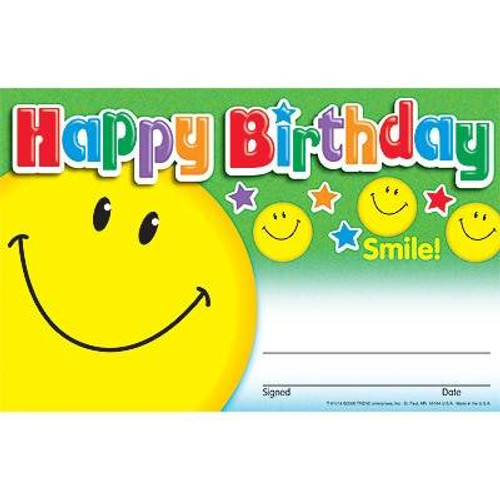 Trend Enterprises Inc 30 Happy Birthday Smile Childrens Award - Recognition Certificates Pad