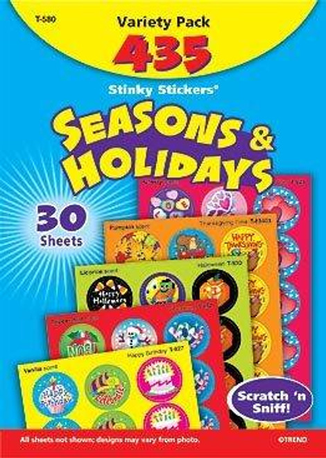 Trend Enterprises Inc 435 Seasons and Holidays Scratch and Sniff Reward Stickers pack