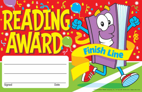 Trend Enterprises Inc 30 Reading Award Finish Line certificates - School reward Pad