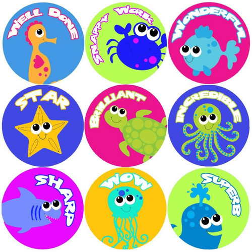 Sticker Stocker 144 Sea Life Creatures Praise Words 30mm Childrens Reward Stickers for Teachers or Parents