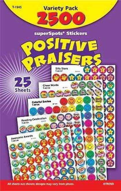 Trend Enterprises Inc 2500 Positive Praisers SuperSpots reward stickers Variety Pack