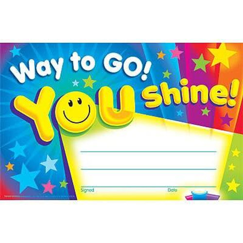 Trend Enterprises Inc 30 Way To Go You Shine Childrens Award - Reward Recognition Certificates Pad