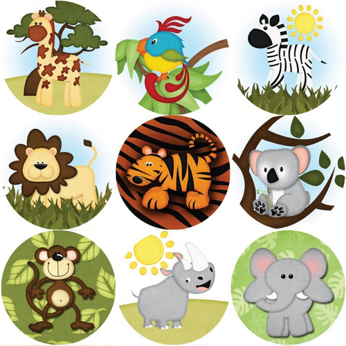 Sticker Stocker 144 Wild Safari Animals 30mm Childrens Reward Stickers for Teachers or Parents