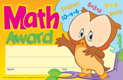 Trend Enterprises Inc 30 Maths School Award - Numeracy recognition certificate pad