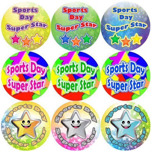 Sticker Stocker 144 Sports Day Star 30 mm Reward Stickers for Teachers, Parents and Schools