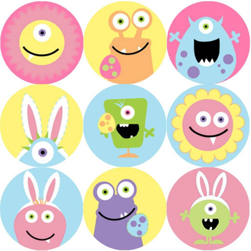 Sticker Stocker 144 Monster Easter 30mm Round Childrens Reward Stickers for Teachers, Parents