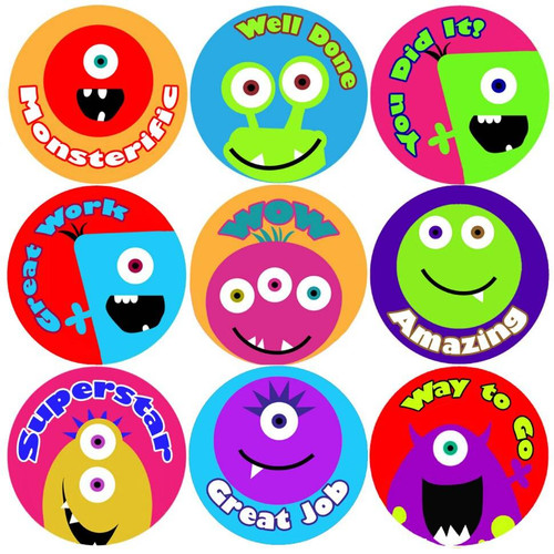 Sticker Stocker 144 Monster Faces Praise Words 30mm Childrens Reward Stickers for Teachers or Parents
