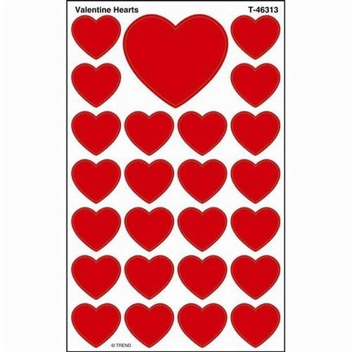 Trend Enterprises Inc 200 Valentine Hearts SuperShapes Teacher Reward Stickers - Large