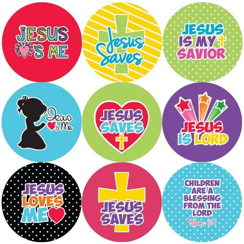 Sticker Stocker 144 Jesus Saves 30mm Round Childrens Christian Reward Stickers - Teachers or Parents
