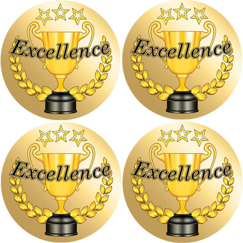 Sticker Stocker 72 Gold Excellence 45mm Reward Stickers for School Teachers Award, Parents and Nursery