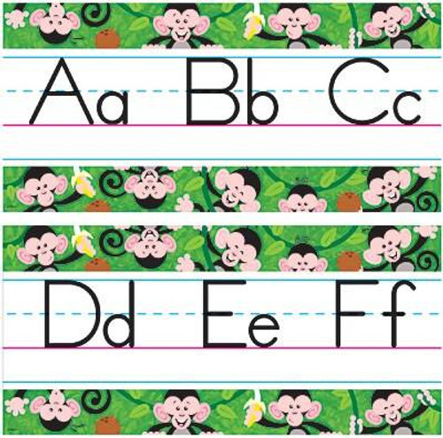 Trend Enterprises Inc Monkey Mischief ABC Jumbo Alphabet Line Classroom Display Board Set