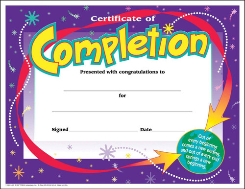 Trend Enterprises Inc 30 Kids Certificate of Completion Awards pack