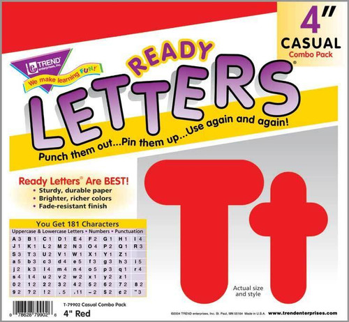 Trend Enterprises Inc Trend Display Ready Letters - Red 4-Inch Casual Combo Pack