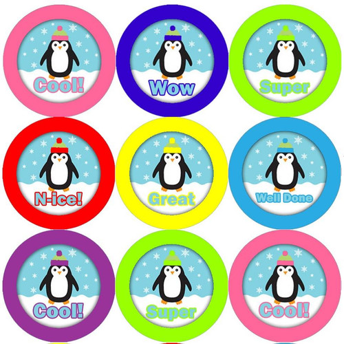 Sticker Stocker 144 Proud Penguins 30mm Round Childrens Reward Stickers - Teachers or Parents