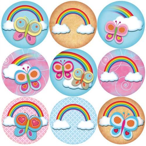 Sticker Stocker 144 Rainbow Butterflies 30mm Reward Stickers for Teachers, Parents, Party Bags