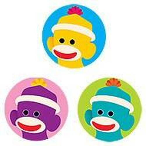 Trend Enterprises Inc 800 TREND Sock Monkeys SuperSpots mini reward Stickers