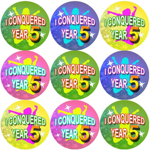 Sticker Stocker 144 I Conquered Year 5 - End of Term Year 4th grade Teacher Reward Stickers Size 30 mm