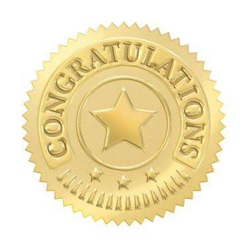 Trend Enterprises Inc 32 Gold embossed congratulations certificate award seals stickers