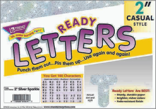 Trend Enterprises Inc Display Board Ready Letters - Sparkle Silver 2 Casual