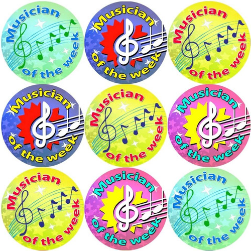 Sticker Stocker 144 Musician of the week 30mm Reward Stickers for School Teachers, Parents and Nursery