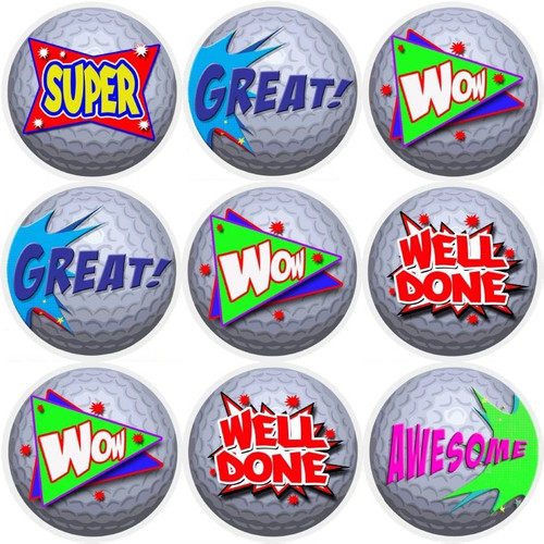 Sticker Stocker 144 Golf Ball Praise Words 30mm Reward Stickers for Teachers, Parents and Party Bags