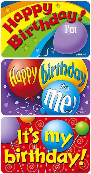 Trend Enterprises Inc TREND 30 Extra Large Birthday Time Applause reward stickers