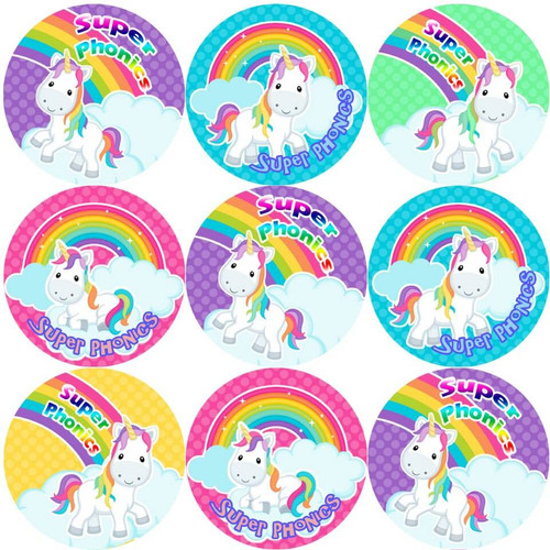 Sticker Stocker 144 Phonics Unicorns 30 mm Reward Stickers for School Teachers, Parents and Nursery