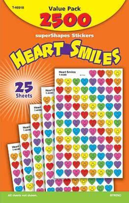 Trend Enterprises Inc 2500 Heart Smiles superShapes mini reward Stickers pack