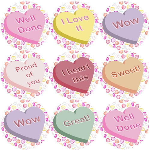Sticker Stocker 144 Candy Hearts Praise Words 30mm Childrens Reward Stickers for Teachers or Parents