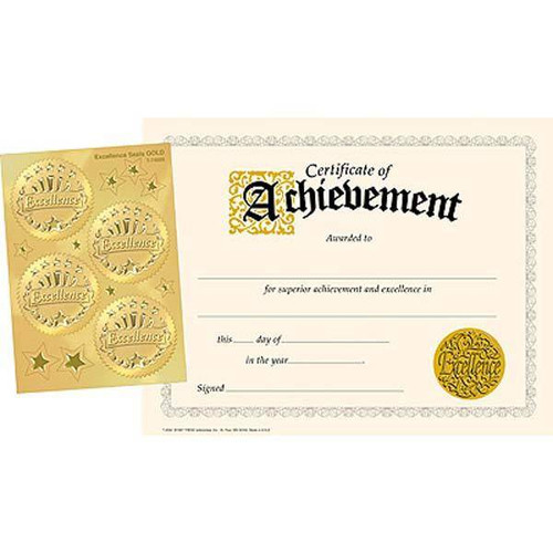 Trend Enterprises Inc 30 Certificates of Achievement and 32 Gold Excellence Award Seals Combo Pack
