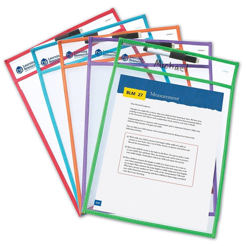 Learning Resources Reusable Clear Write and Wipe Clean Pockets - Pack of 5 by Learning Resources