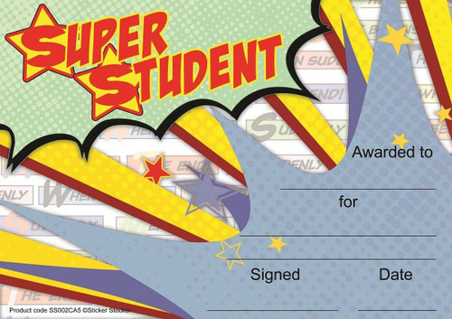 Sticker Stocker 30 Super Student Superhero themed award certificates for school teachers, 250gsm A5 silk finish card