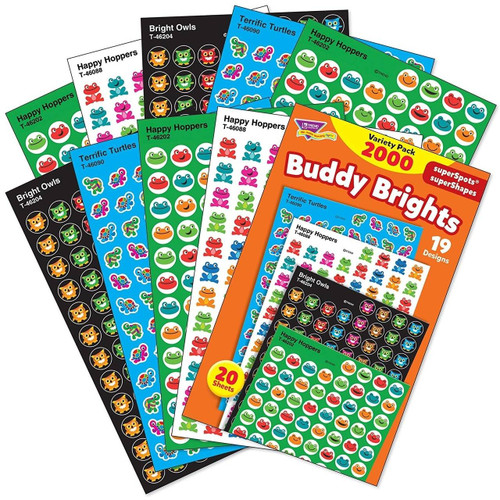 Trend Enterprises Inc 2000 Buddy Brights Cute Owls, Frogs and Turtles superSpots Reward Stickers