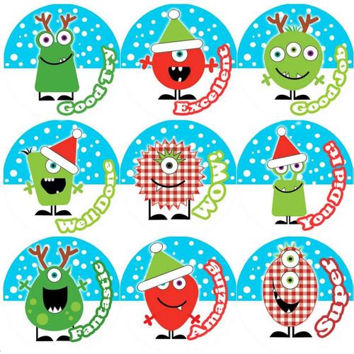 Sticker Stocker 144 Christmas Monsters Praise Words 30mm Childrens Reward Stickers for Teachers or Parents