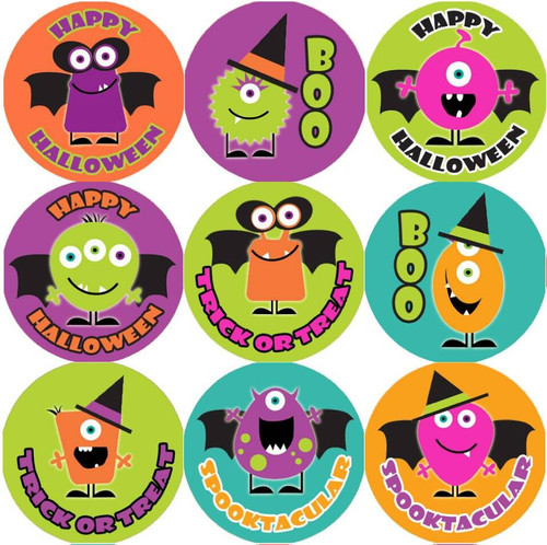 Sticker Stocker 144 Monster Halloween 30mm Round Childrens Reward Stickers for Teachers or Parents
