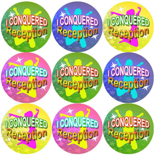 Sticker Stocker 144 I Conquered Reception - End of Term Year Pre-K Teacher Reward Stickers Size 30 mm