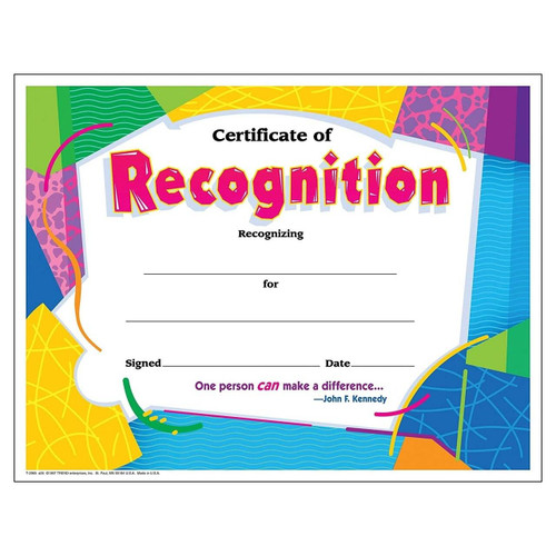 Trend Enterprises Inc 30 Recognition Awards Large Classic Certificate pack