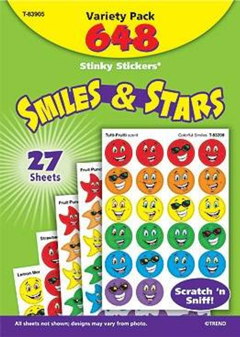 Trend Enterprises Inc 648 Smiles and Stars Variety Pack Scratch n Sniff Reward Stickers