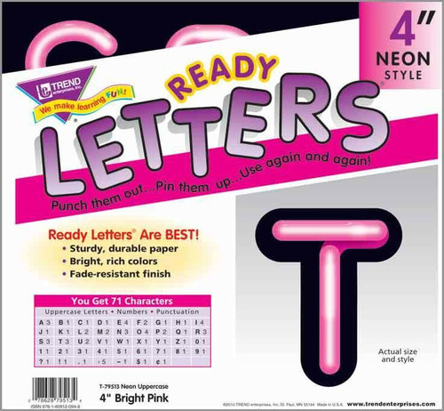 Trend Enterprises Inc Display Board Ready Letters - Bright Pink Neon 4
